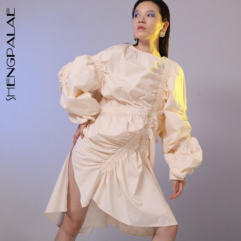 SHENGPALAE 2019 nouveau printemps été col rond à manches longues bleu pli élastique fendu irrégulière grande taille robe femmes mode JG803