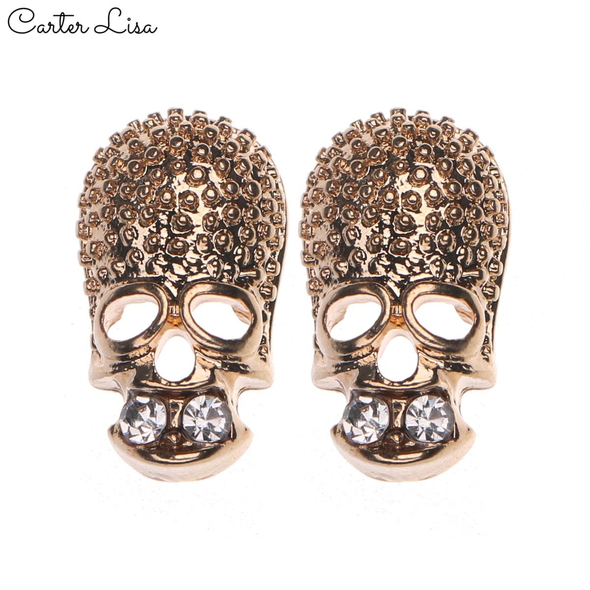 CARTER LISA 1 Pair Fashion Women Earrings Silver Color Skull Rhinestone Stud Earrings For Women Ear Earrings Jewelry
