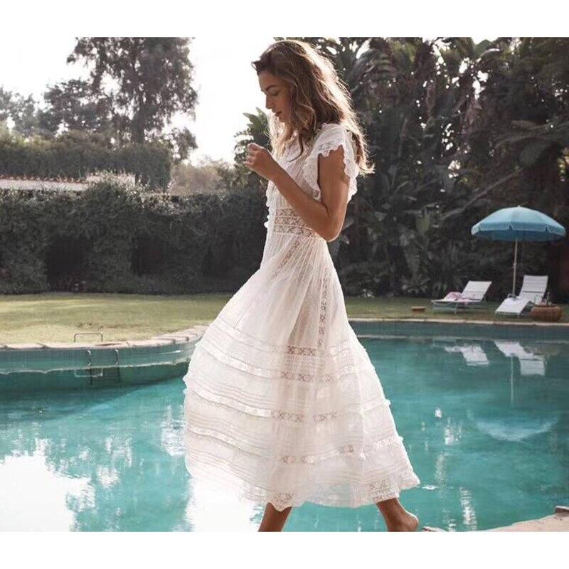 Ziwwshaoyu отпуск Вышивка платья v образный вырез кружева пэчворк выдалбливают элегантное платье с цветочным принтом 2019 Весна и лето новые женск