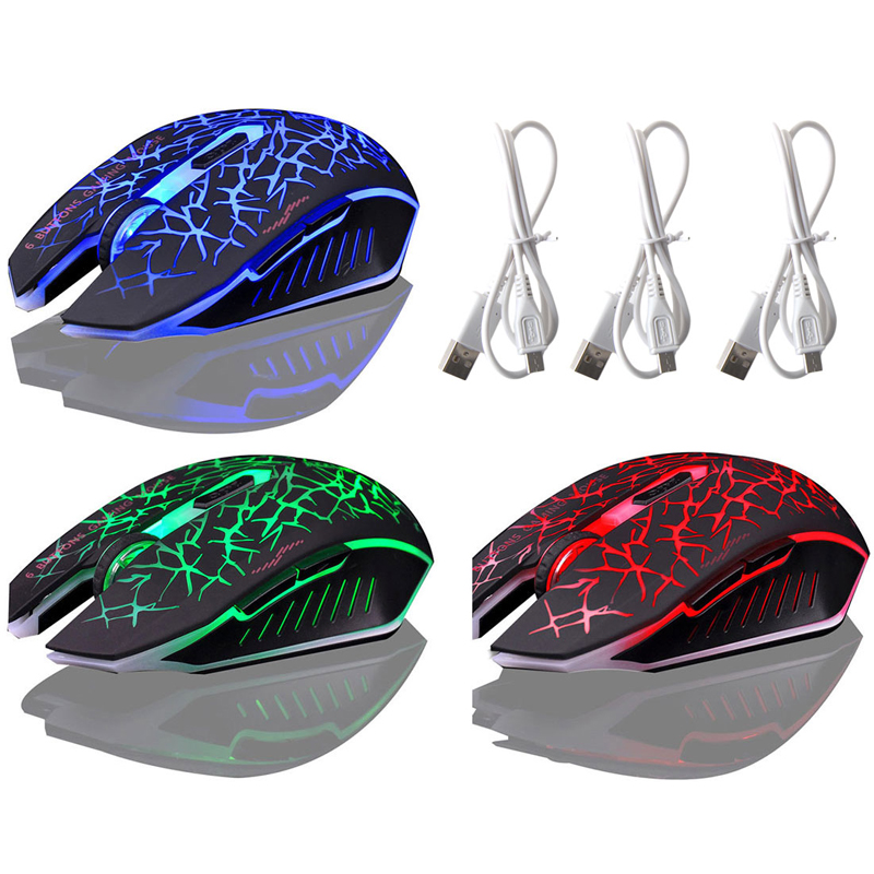 2.4GHZ Wireless Optical Gaming Mouse Rechargeable 2400DPI Fashion LED Lighting For Desktop Notebook Tablet Laptop