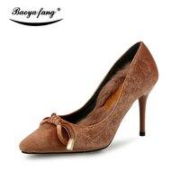 BaoYaFang Nueva Felpa Corta de Invierno tacones Altos Bombas de mujer zapatos de un solo partido de Las Señoras zapatos de vestir zapatos de Boda suela roja Caliente