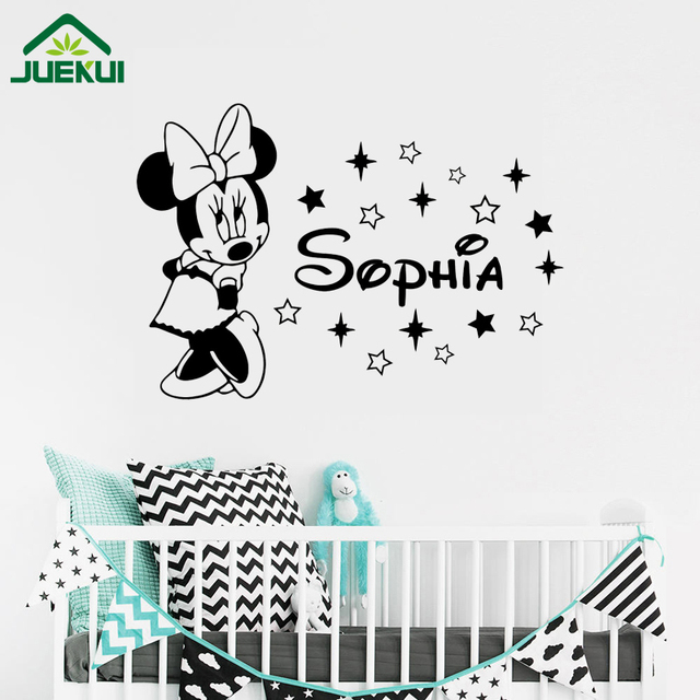 Minnie Mouse Wall Decal Girl Custom Any Name Cartoon Vinyl Sticker - Custom vinyl stickers for girls