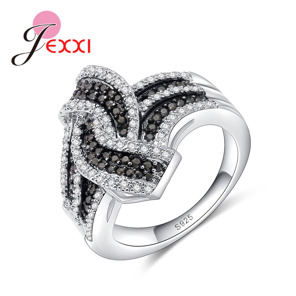 JEXXI Pretty Cross Twist Ring Micro Inlay Full White/Black Africa Crystal Hot Women Jewelry Gift Solid 925 Silver Finger Rings