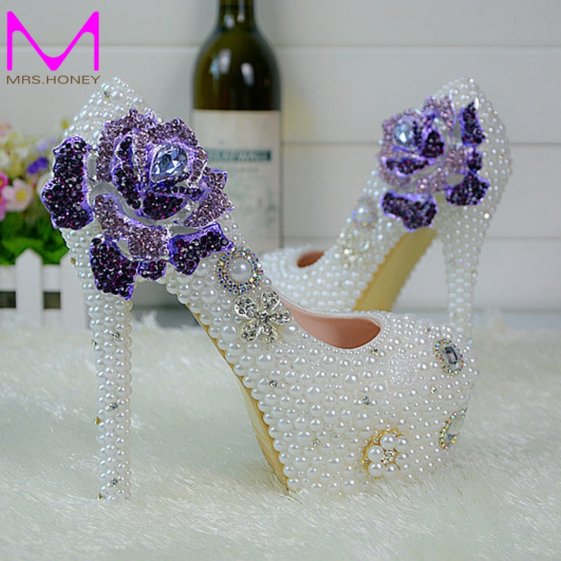 ФОТО 2016 Handmade Soulmate Pattern White Pearl Wedding Shoes Rose Flower Style Rhinestone Women Pumps Bridesmaid shoes Size 34-45