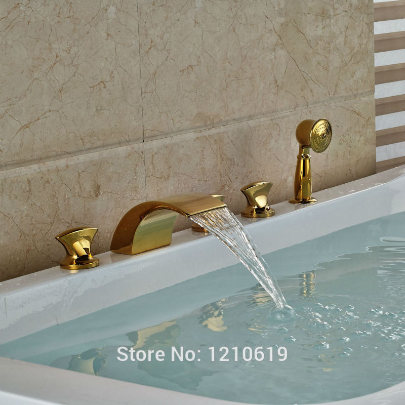 Newly Gold Plate Bathtub Faucet Set Deck Mount 5Pcs Waterfall Shower Tub Faucet Mixer Tap Three