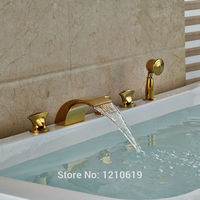 Newly Gold Plate Bathtub Faucet Set Deck Mount 5Pcs Waterfall Shower Tub Faucet Mixer Tap Three Handles