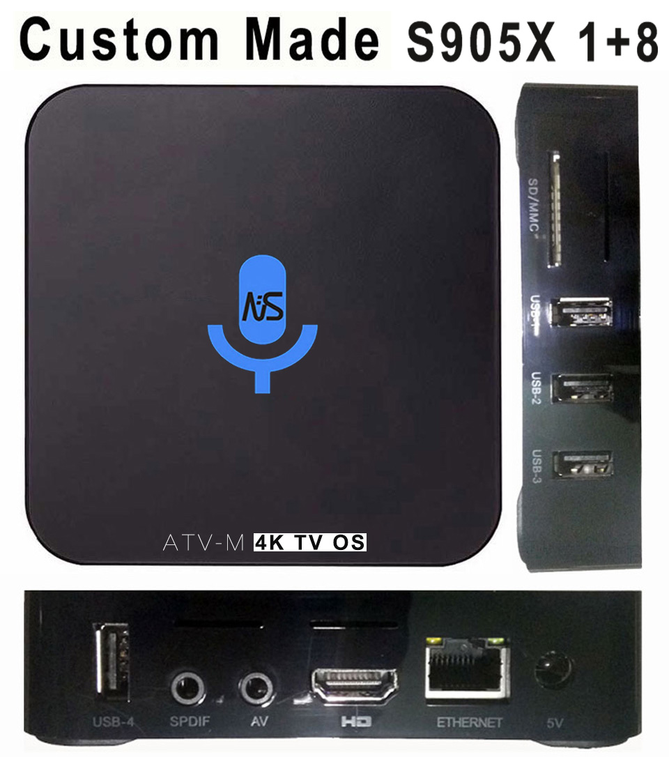 10pcs Custom Made ATV-M S905X 4K Voice Control Smart Android TV OS box Streaming Box Support Google Play Youtube Netflix