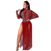 Rhinestone Black Sheer Mesh Maxi Sexy Dress Spring Women Long Sleeve Diamonds Elegant Tassel Dress Night Club Party Dress