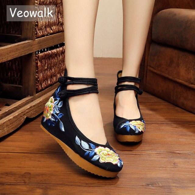Veowalk中国midトップ女性のキャンバスフラットプラットフォーム靴女性歳北京花綿刺繍快適なzapatos mujer
