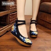 Veowalkจีนกลางผู้หญิงผ้าใบแบนรองเท้าสุภาพสตรีปักกิ่งเก่าปักกิ่งดอกไม้ปักสบายZapatos Mujer