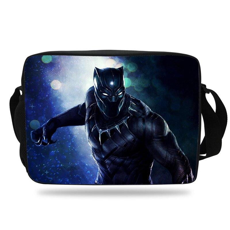 2018 подростковые детские школьные сумки Черная пантера Marvel печатает Crossbody супергероя школьная сумка средней школы Обувь для мальчиков и Для ...