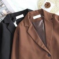 2018 Autumn Winter Women Solid Long Blazer New Fashion One Button Loose Blazers Cotton Thin Office Cardigan Coat