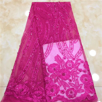 African lace fabric 2019 GREEN high quality lace french mesh fabric with BEADS sequins nigerian swiss lace fabrics for dress K
