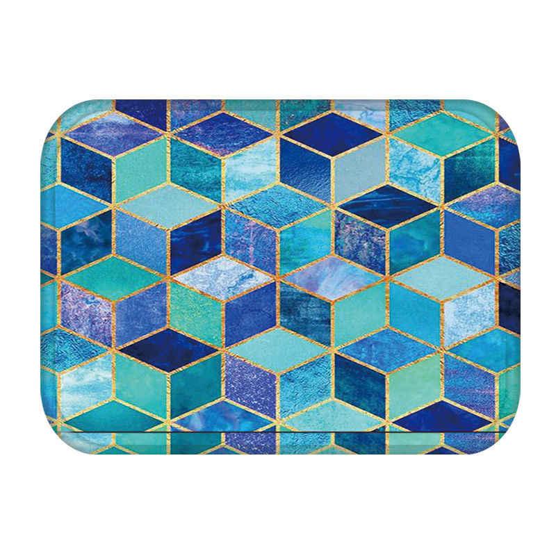 Morze geometryczne wejście do kuchni wycieraczka do butów aksamitny dywan koralowy gumowe kolorowe wewnętrzne maty podłogowe antypoślizgowy dywanik 48267