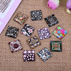 100pcs Mix Square Flatback Flower Pattern Photo Glass Cabochons 10mm Diy Earring Hair Jewerly Making Accessories