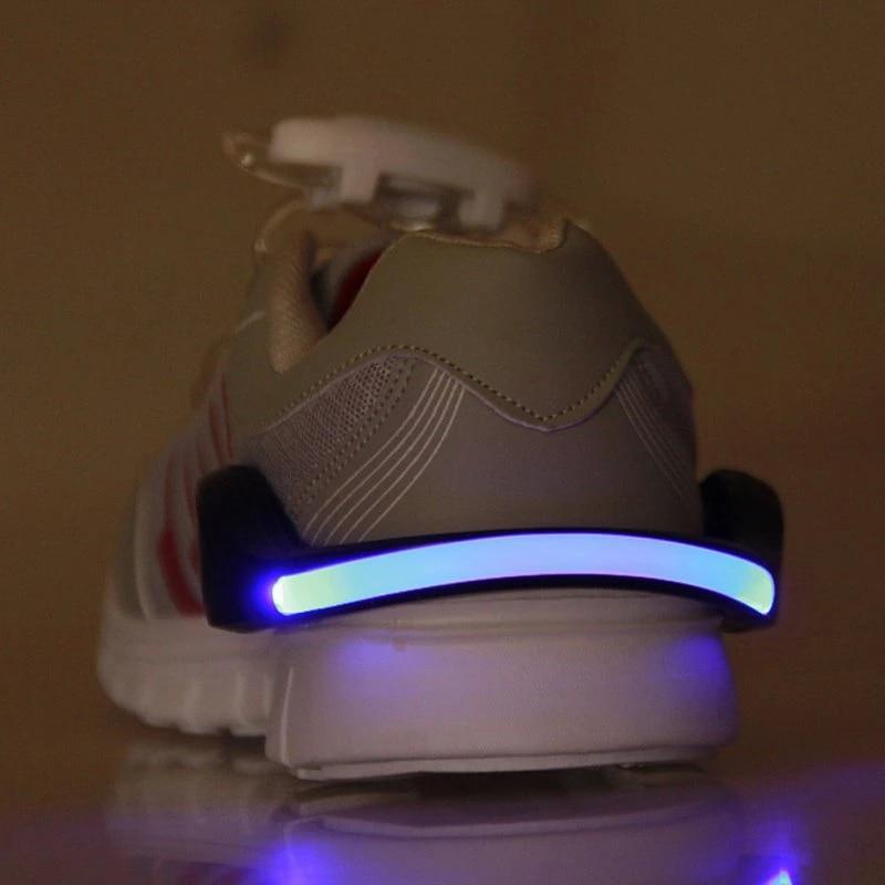 White Night Running Cycling LED Luminous Safety Warning Shoe Clip Light