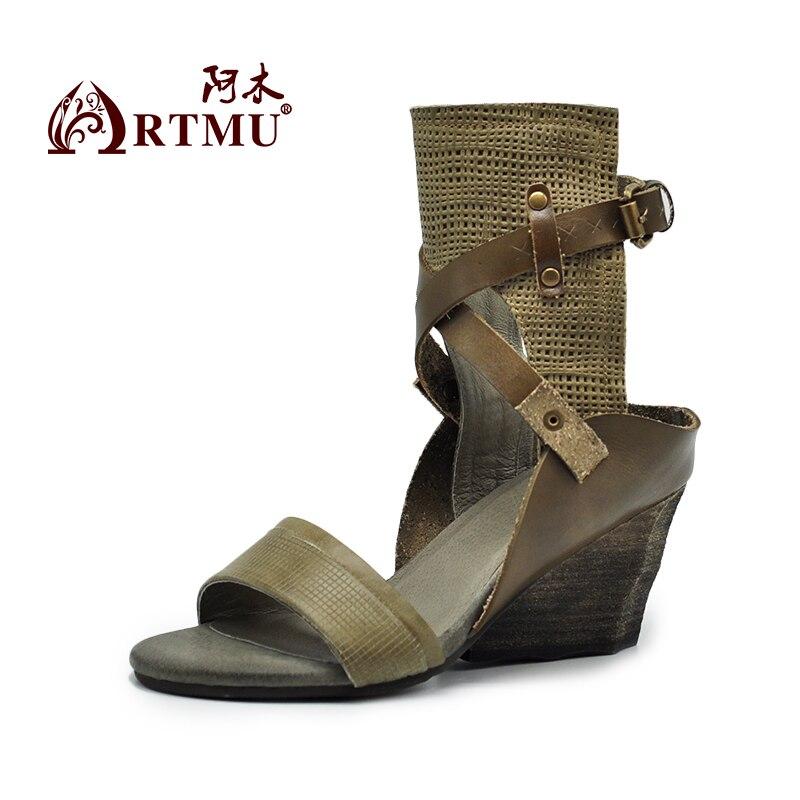 Gürtel Ferse Sandalen Heels Original Artmu Handgefertigten Schnalle Echtem Frauen High Brown Keile Vintage Aus 21 gray Leder Tm338 vt4qB