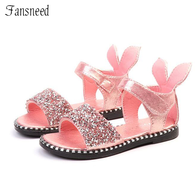 2019 nuevos zapatos de princesa de moda de verano para niñas con orejas de conejo de diamantes de imitación tamaño 21-talla 36