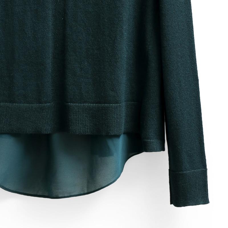 Verde 2019 Oscuro Color de negro Las Empalme Mujeres Mujer Amii Cuello Chiffon En Minimalista Suéter V Beige De Suéteres agUxXw1Txq