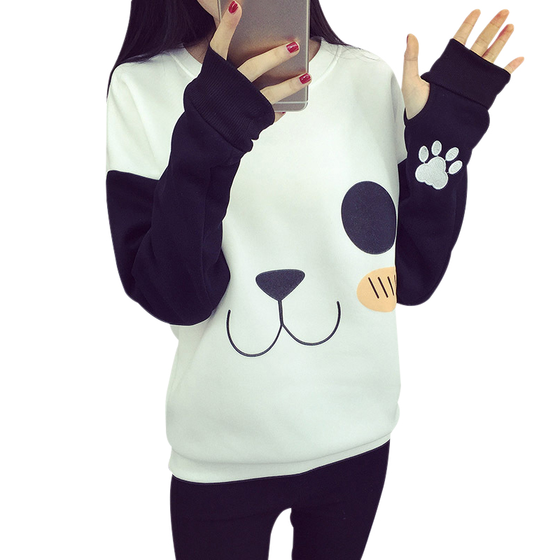 ROSASSY funny women hoodies Panda Printing Long Sleeve White harajuku Casual Sweatshirts Shirt Blouse Tops For Cute Girl