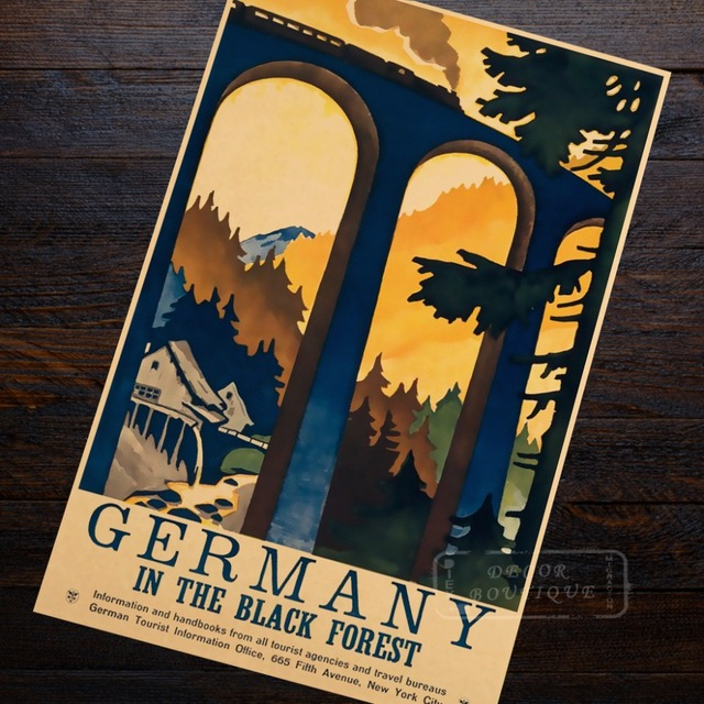 Train Trip Germany Travel Agency Advertisement Landscape Beauty View Retro Vintage Poster Canvas Wall Art Home