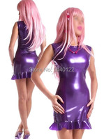 Пикантные узкие латекс платье Клубные Свадебные платья Фиолетовый резиновая Bodycon платья Плюс Размеры Лидер продаж настроить Услуги