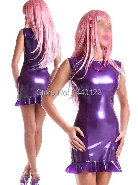 Sexy mince Latex robe tenue de club Vestidos violet caoutchouc moulante robes de grande taille offre spéciale personnaliser le Service