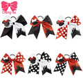 "2pcs 7""Red Black White Polka Dots Glitter Mini Mouse Cheer Bow For Girls Bling Character Ponytail Holder Girls Hair Accessories"