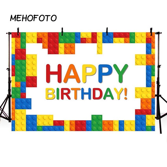 Birthday Photography Backdrop Colorful Lego Building Blocks Boy Girl Baby Child Party Decorations Photo Booth Background Banner