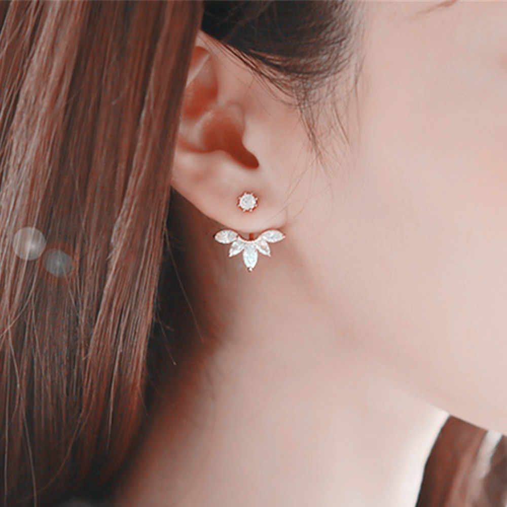 Korean Gold and Silver Plated Leave Crystal Stud Earrings Fashion Statement Jewelry Earrings for Women free shipping e012