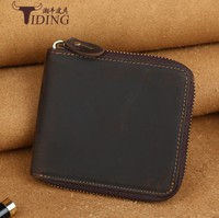 Genuine Leather Wallet Coin Purses for Men 201 Zipper Small Wallet Men Real Cowhide Leather Men Brown card holders bags