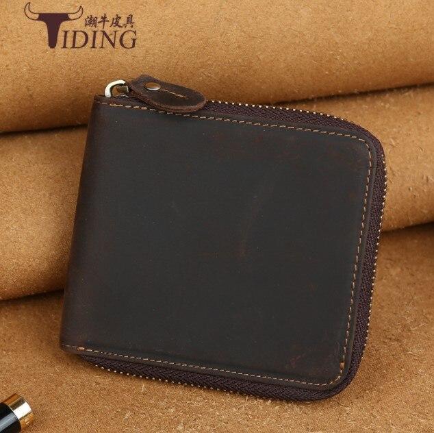 Porte-monnaie en cuir véritable pour hommes 201 petit portefeuille à fermeture éclair pour hommes en cuir de vachette véritable pour hommes porte-cartes marron