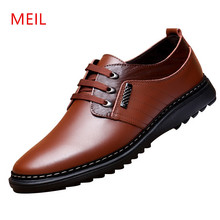 MEIL Mens Shoes Casual Genuine Leather Handmade Zapatos Hombres Brand Lace-Up  men Oxfords