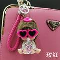 Glasses Monchichi Key chain Sleutelhanger Strass Keychain Keyring Fluffy Ribbit Fur Ball Pom Pom Women Bag Charm Porte Clef M174