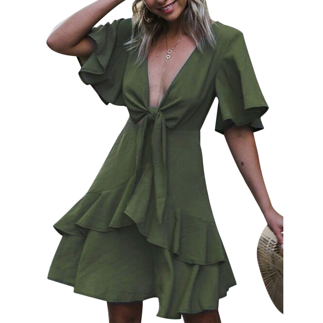 New 2018 Women Summer Dress Bodycon Sexy V-Neck Bowknot Ruffles Mini  Dresses Casual Short Sleeve Boho Beach Sundress Vestidos b8b7fd260e5a