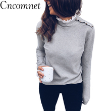 CNCOMNET Women Knitted Sweater Turtle Neck Casual Long Sleeve Pullovers Loose Sweaters Autumn Winter Gray White Tops Streetwear