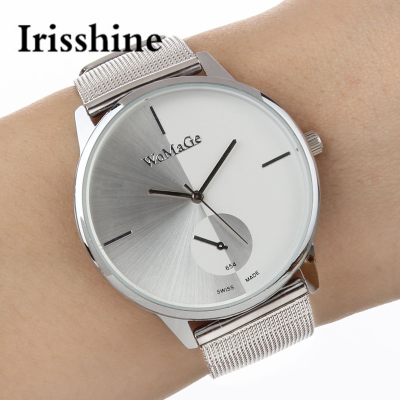 Irisshine B08 Luxury Fashion Men Casual Analog Stainless Steel Quartz Wrist Watch men watches Gift Wholesale free shipping migeer fashion man stainless steel analog quartz wrist watch men sports watches reloj de hombre 2017 20 gift