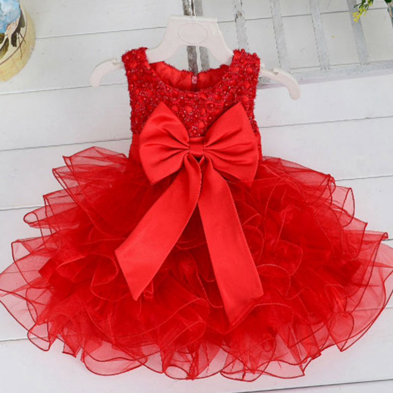 Baby Girls Tutu Dress 2016 New Arrival Princess Bow Dresses Sleeveless Party Frocks For Wedding Birthday Clothes 12M-5 Year GD64 baby girl baptism dress sleeveless flowers wedding vestido infants girls clothes princess dresses 3 10 year birthday party dress