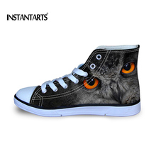 INSTANTARTS 2018 Spring Men's Lacing High Top Shoes Cool Animal Owl Print Light Student Daily Vulcanize Canvas Shoes Large Size