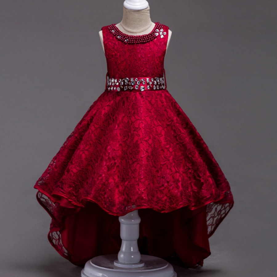 Girls Party Wear Clothing for Children Summer Lace Long Tail Princess Wedding Dress Girls Teenager Prom Gown 2 4 6 8 10 12 14 girls europe and the united states children s wear red princess long sleeve princess dress child kids clothing red bow lace