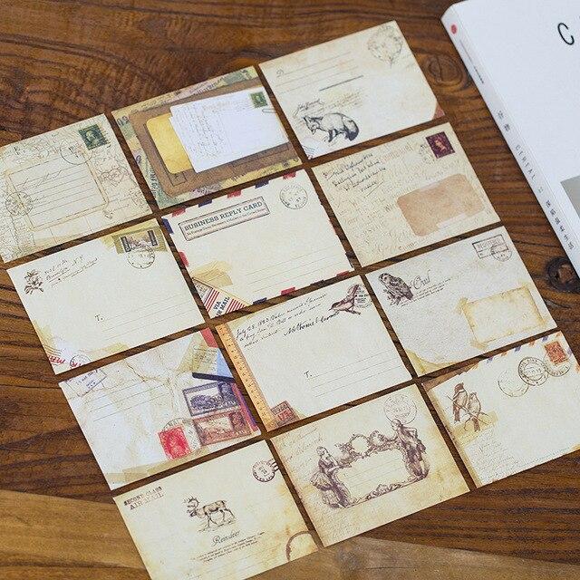 Us 102 20 Off12 Piecesset Vintage Mini Enveloppen Eropa Gaya Amplop Surat Stationary Penyimpanan Kartu Pesan Kertas Hadiah Amplop Set Di Kertas