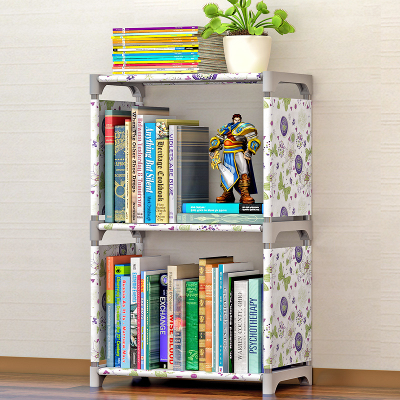 Simple 3-Story Bookcase Stainless Steel Non-Woven Multi-Function Shelves Freestanding Bedroom Furniture Dust Storage Rack 4 layers of simple dust proof moisture proof shoe rack thick non woven stainless steel shoe free assembly of home furniture