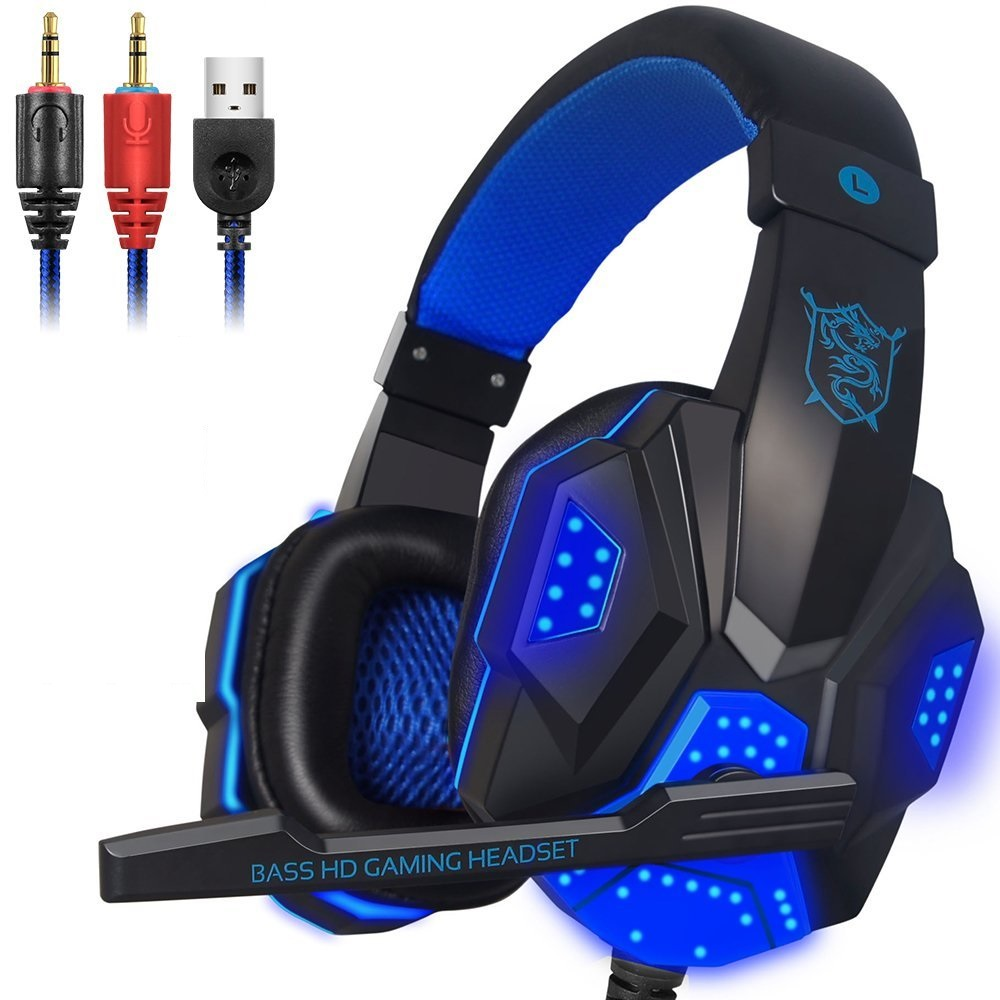 40mm Wired Gaming Headphone Gamer Headset Stereo Deep Bass Headband Over Ear Glowing Earphone With Mic Led For Computer PC Gamer