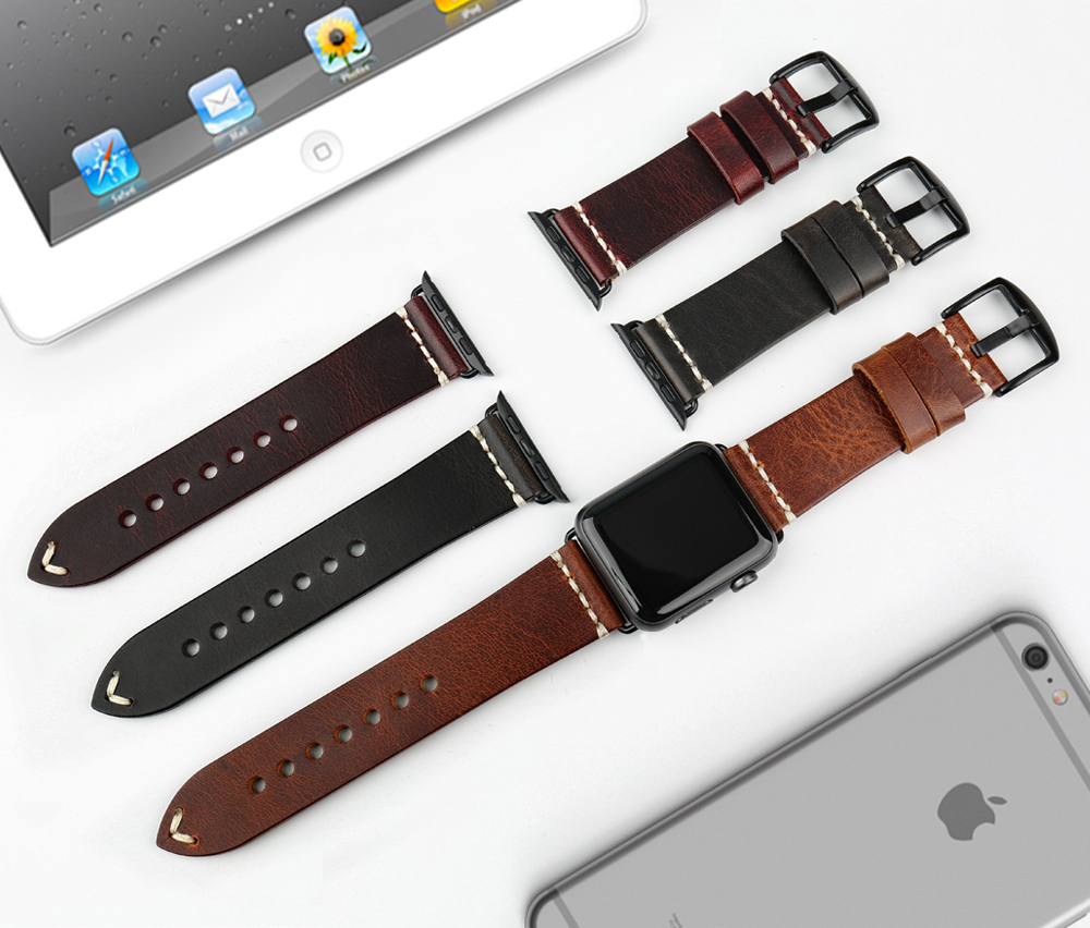 Image 3 - MAIKES Vintage huile cire cuir Bracelet de montre pour Apple Bracelet de montre 44mm 40mm 42mm 38mm série 4/3/2 iWatch montre Bracelet Bracelet de montrestrap for apple watchwatch strapleather watch strap -
