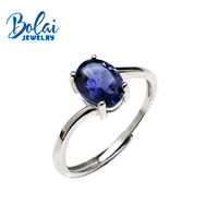 Bolaijewelry,Natural Blue Iolite oval6*8mm Gemstone Simple Ring 925 sterling silver fine jewelry for women daily wear party gift