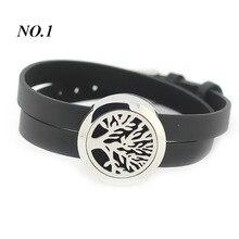 (Free 5 unids Almohadillas de Fieltro por pieza) pulsera de plata del acero inoxidable 316L 25mm relicario de aromaterapia con cuero pulsera de diseño