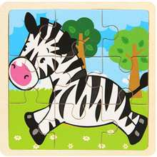 Sale 9pcs Of Wood Puzzle Zebra Cartoon Animal Jigsaw Baby Young Children Early Lessons Learned Intelligence Puzzle Wooden Toys(China)