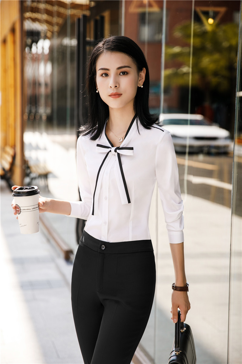 Ladies Blouses Women Business Work Wear Suits With 2 Piece Blouses And Pants Sets Female Shirts Uniform Styles Pantsuits