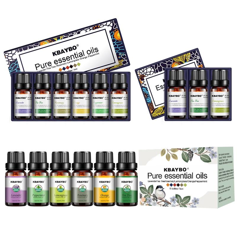 Ätherisches Öl für Diffusor Aromatherapie Öl Luftbefeuchter 6 Arten Duft von Lavendel, Tee Baum, Rosmarin, Zitronengras, orange