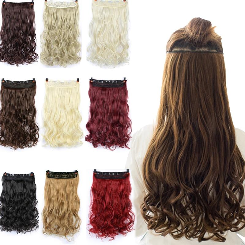 SHANGKE 60 см 5 зажимов для наращивания волос термостойкие поддельные Шиньоны Длинные волнистые прически синтетические клипсы для наращивания ...